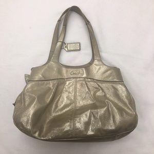 Coach Purse Gold Fabric Hobo Bag